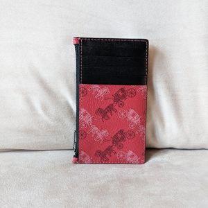 Coach Zip Card Case Horse & Carriage Print - New